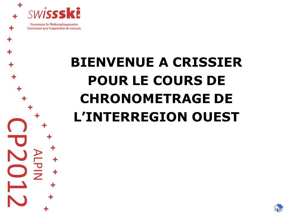 BIENVENUE A CRISSIER POUR LE COURS DE CHRONOMETRAGE DE LINTERREGION OUEST