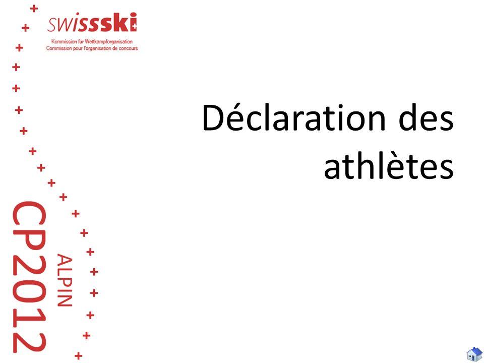 Déclaration des athlètes