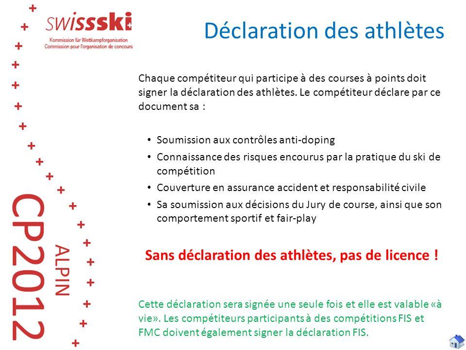 Chaque compétiteur qui participe à des courses à points doit signer la déclaration des athlètes. Le compétiteur déclare par ce document sa : Soumissio