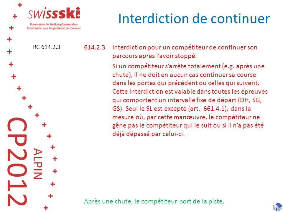 Interdiction de continuer 614.2.3Interdiction pour un compétiteur de continuer son parcours après lavoir stoppé. Si un compétiteur sarrête totalement