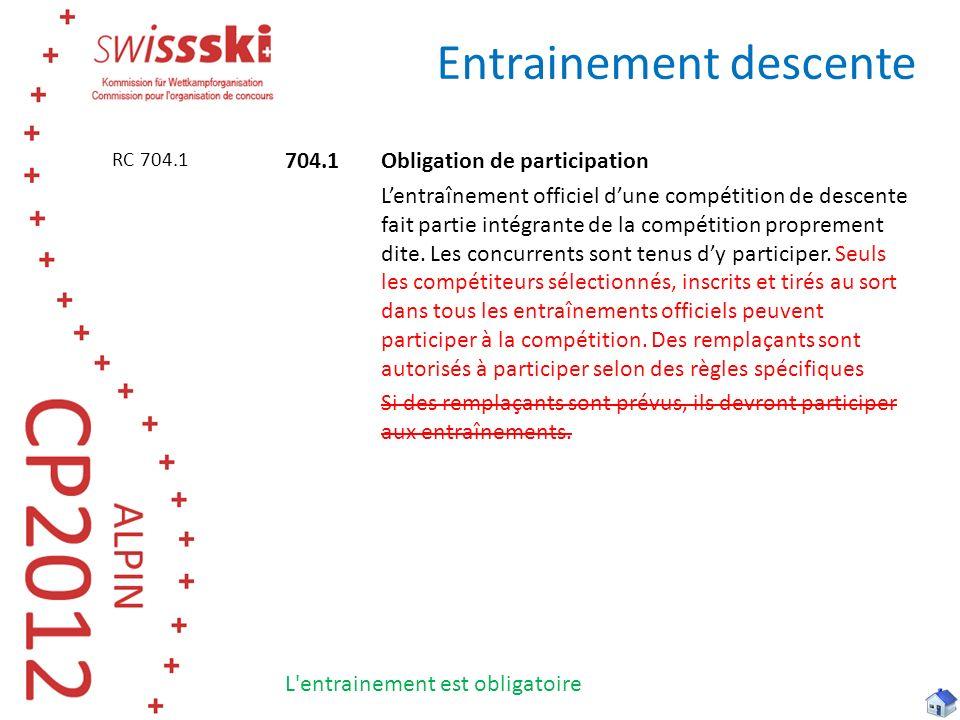 Entrainement descente 704.1Obligation de participation Lentraînement officiel dune compétition de descente fait partie intégrante de la compétition proprement dite.
