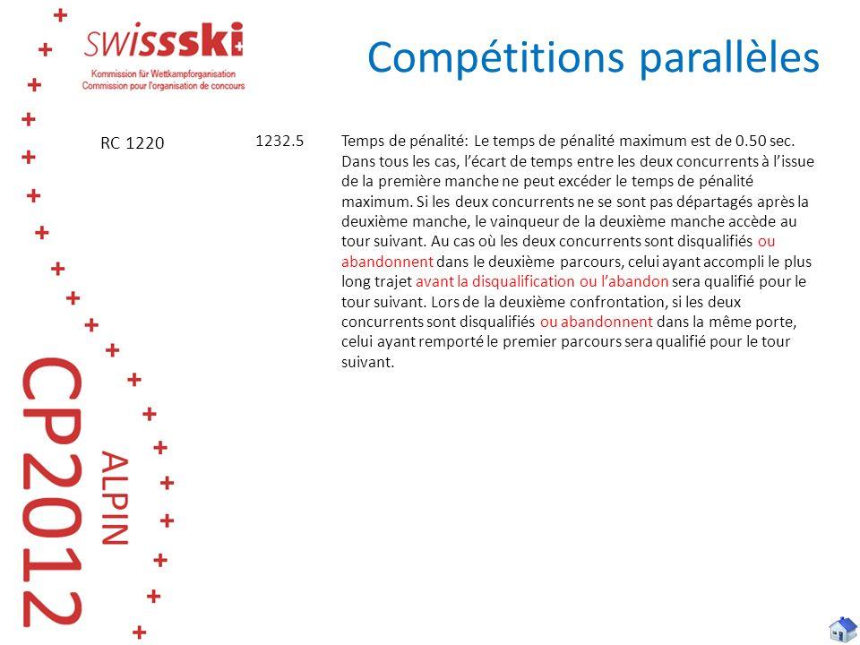 Compétitions parallèles 1232.5 Temps de pénalité: Le temps de pénalité maximum est de 0.50 sec. Dans tous les cas, lécart de temps entre les deux conc