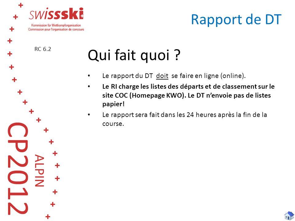 Rapport de DT Qui fait quoi ? Le rapport du DT doit se faire en ligne (online). Le RI charge les listes des départs et de classement sur le site COC (