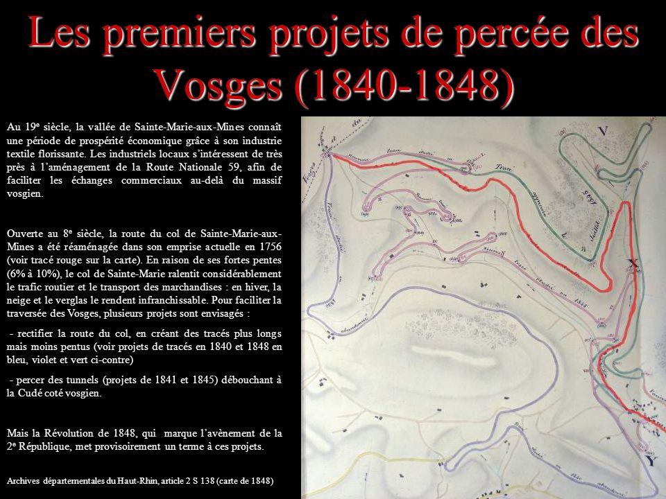 Des projets freinés par les guerres (1866-1918) Lidée dun tunnel transvosgien refait surface après louverture de la ligne ferroviaire Sainte-Marie-aux- Mines/Sélestat en 1864.
