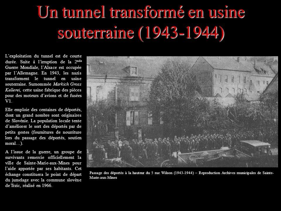 Un tunnel transformé en usine souterraine (1943-1944) Passage des déportés à la hauteur du 5 rue Wilson (1943-1944) – Reproduction Archives municipale