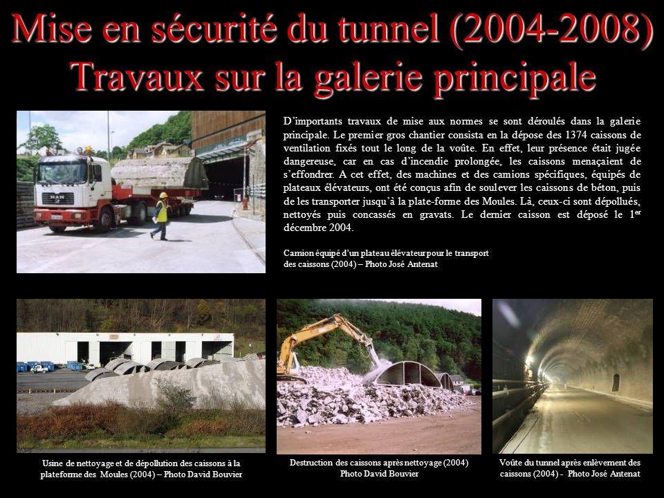Mise en sécurité du tunnel (2004-2008) Travaux sur la galerie principale Dimportants travaux de mise aux normes se sont déroulés dans la galerie princ