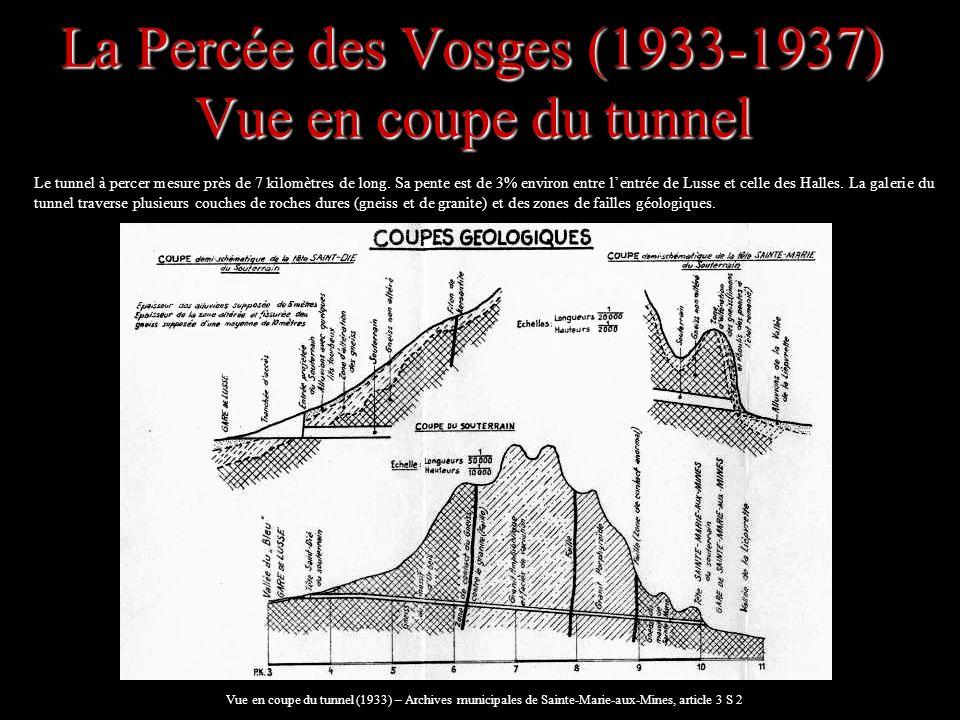 La Percée des Vosges (1933-1937) les techniques de creusement A lissue des grands abattages, la voûte rocheuse est cintrée avec des poutres métalliques (photo ci-contre).
