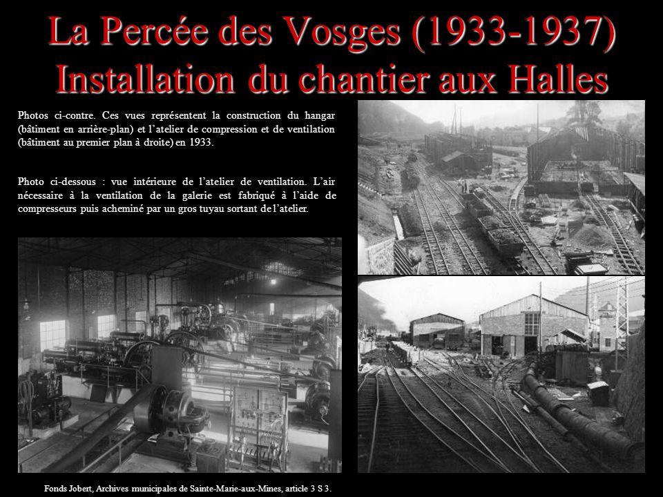 Photos ci-contre. Ces vues représentent la construction du hangar (bâtiment en arrière-plan) et latelier de compression et de ventilation (bâtiment au