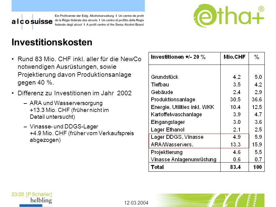 23/28 [P.Schaller] Investitionskosten Rund 83 Mio. CHF inkl. aller für die NewCo notwendigen Ausrüstungen, sowie Projektierung davon Produktionsanlage