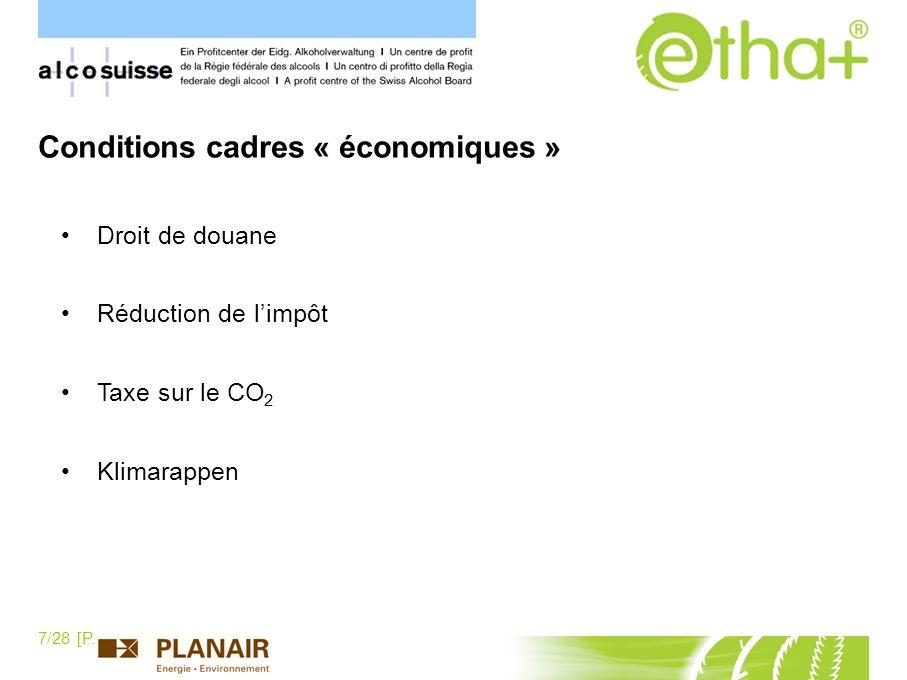 7/28 [P.Schaller] Droit de douane Réduction de limpôt Taxe sur le CO 2 Klimarappen Conditions cadres « économiques »