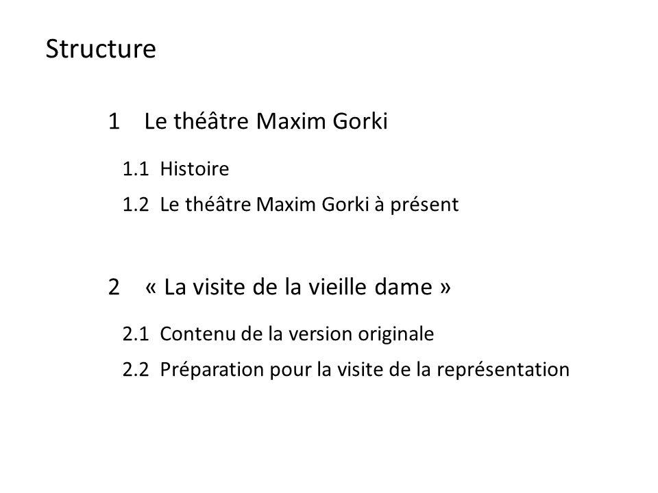 Structure 1 Le théâtre Maxim Gorki 1.1 Histoire 1.2 Le théâtre Maxim Gorki à présent 2« La visite de la vieille dame » 2.1 Contenu de la version originale 2.2 Préparation pour la visite de la représentation