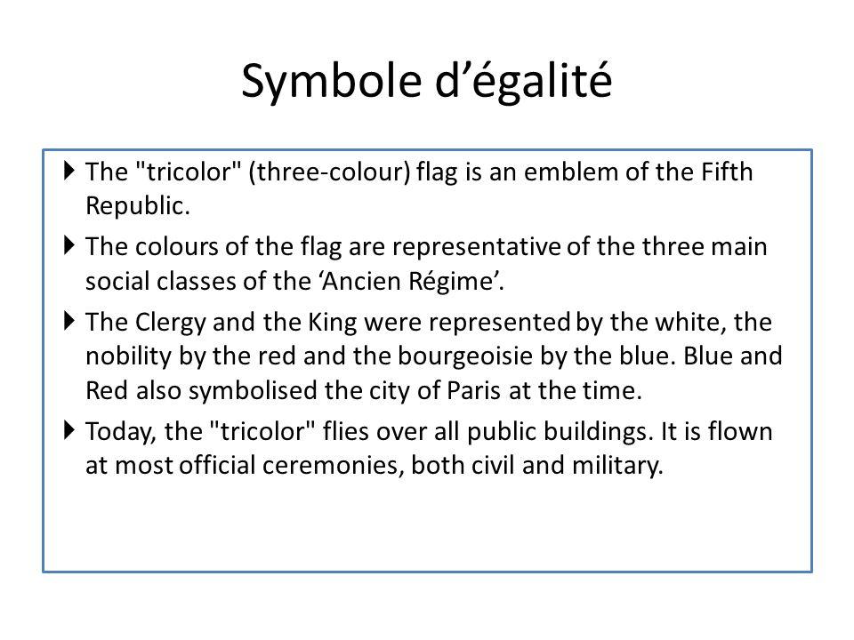Le Paris Le bourgeosie Que symbolise le tricolor de la France? Le Roi L Eglise Le Clergé Le Paris La noblesse Le sang/la lutte