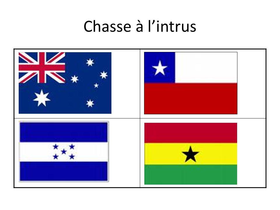 Il y a …… Cest…… un croissant un rectangle un carré un cercle une bande verticale une bande horizontale une croix une étoile rouge bleu/bleue jaune gris/grise blanc/blanche noir/noire vert/verte bleu clair orange à gauche du …..