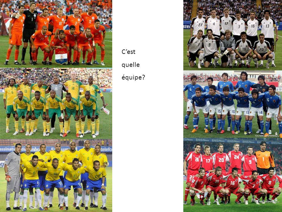 Les équipments À gauche = Match à domicile À droite = Match à l'extérieur Je crois que la France est léquipement numéro 1 parce que …….