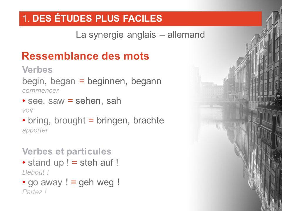 Verbes begin, began = beginnen, begann commencer see, saw = sehen, sah voir bring, brought = bringen, brachte apporter Verbes et particules stand up !