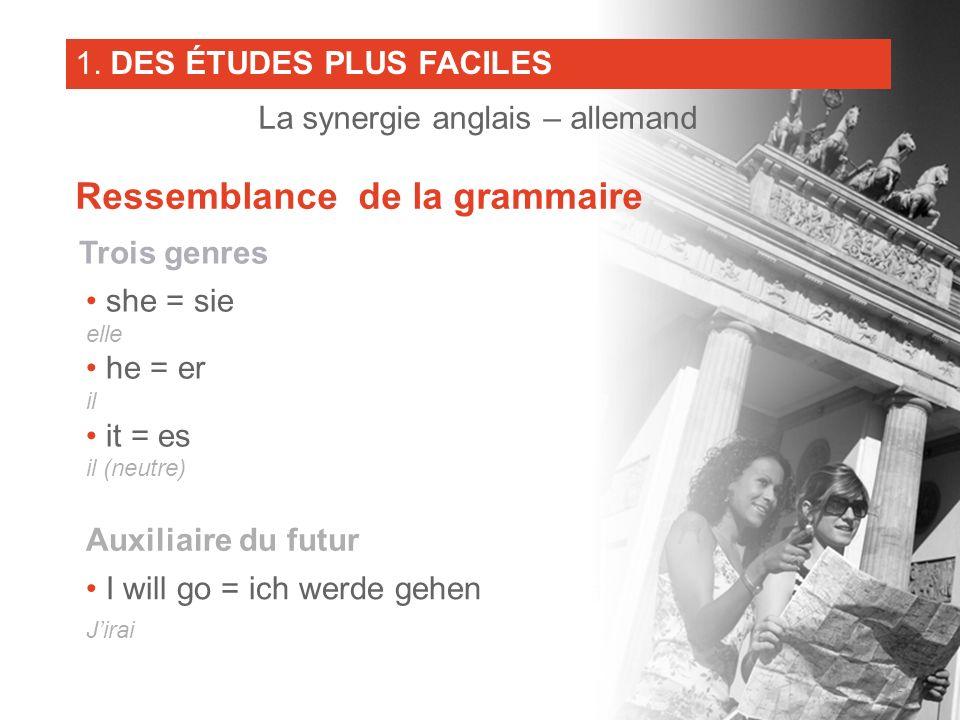 Trois genres she = sie elle he = er il it = es il (neutre) Auxiliaire du futur I will go = ich werde gehen Jirai 1. DES ÉTUDES PLUS FACILES La synergi