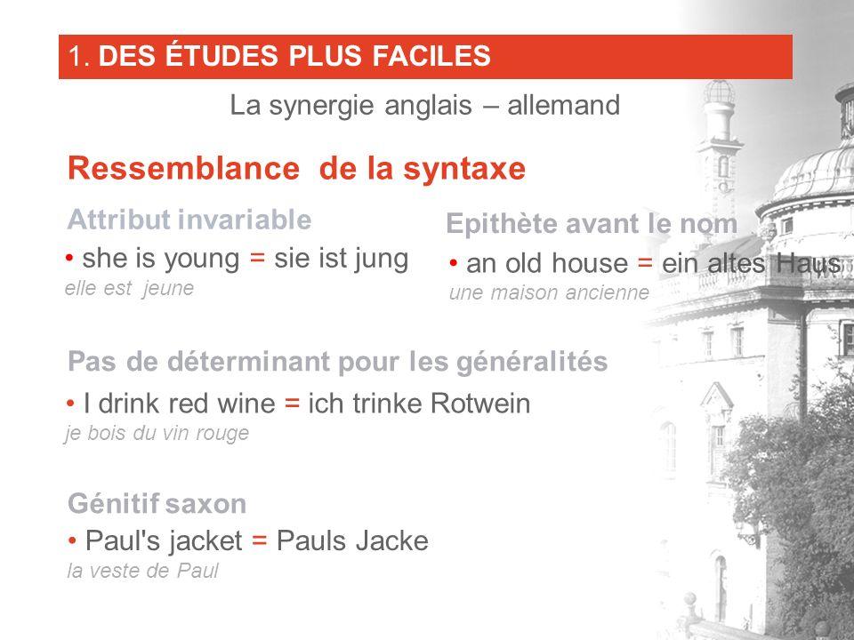 Epithète avant le nom an old house = ein altes Haus une maison ancienne Pas de déterminant pour les généralités I drink red wine = ich trinke Rotwein