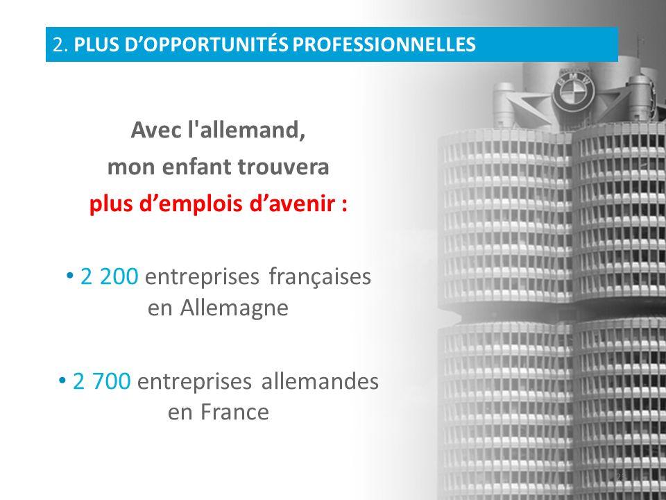 Avec l'allemand, mon enfant trouvera plus demplois davenir : 2 200 entreprises françaises en Allemagne 2 700 entreprises allemandes en France 2. PLUS
