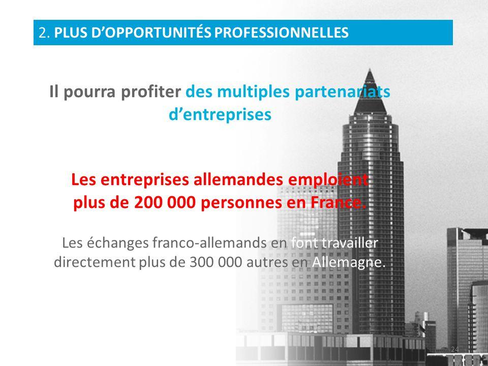 Il pourra profiter des multiples partenariats dentreprises Les entreprises allemandes emploient plus de 200 000 personnes en France. Les échanges fran