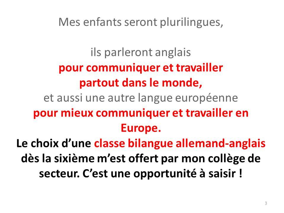 Mes enfants seront plurilingues, ils parleront anglais pour communiquer et travailler partout dans le monde, et aussi une autre langue européenne pour