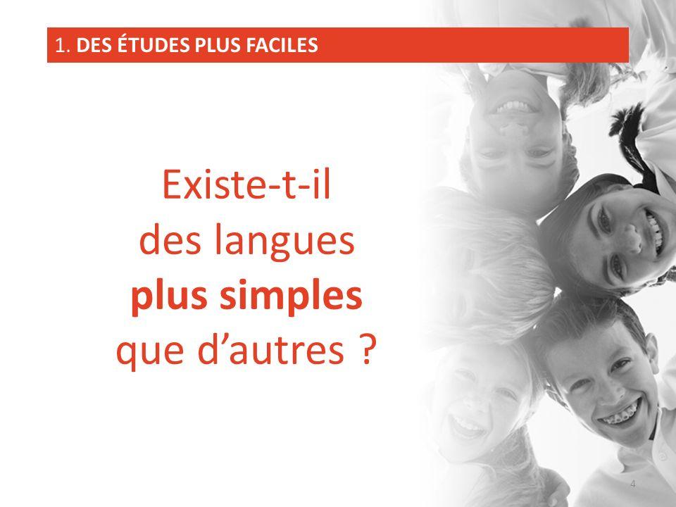 Existe-t-il des langues plus simples que dautres ? 1. DES ÉTUDES PLUS FACILES 4