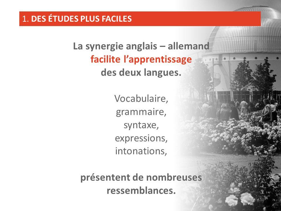 La synergie anglais – allemand facilite lapprentissage des deux langues. Vocabulaire, grammaire, syntaxe, expressions, intonations, présentent de nomb
