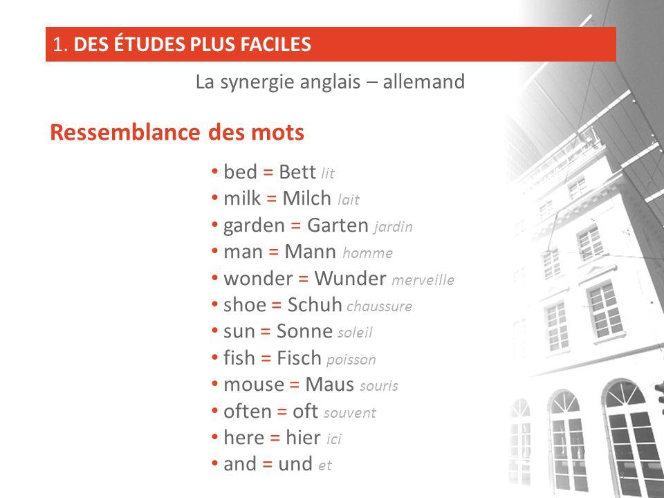 bed = Bett lit milk = Milch lait garden = Garten jardin man = Mann homme wonder = Wunder merveille shoe = Schuh chaussure sun = Sonne soleil fish = Fi