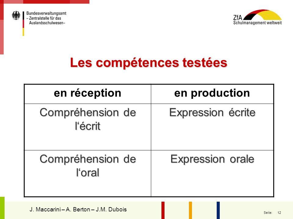 12 Seite: Les compétences testées en réceptionen production Compréhension de lécrit Expression écrite Compréhension de loral Expression orale J. Macca