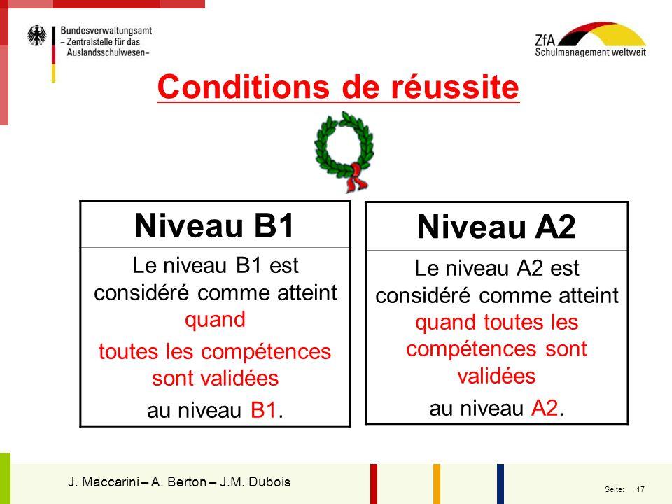17 Seite: Conditions de réussite Niveau B1 Le niveau B1 est considéré comme atteint quand toutes les compétences sont validées au niveau B1. Niveau A2