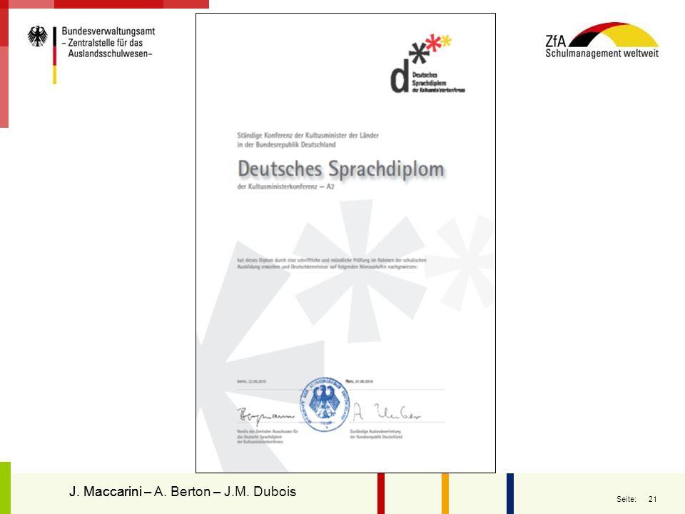 21 Seite: J. MaccariniJ. Maccarini – A. Berton – J.M. Dubois Le diplôme