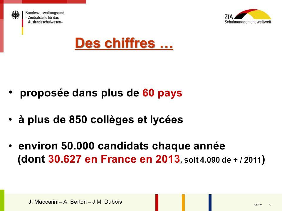 6 Seite: Des chiffres … proposée dans plus de 60 pays à plus de 850 collèges et lycées environ 50.000 candidats chaque année (dont 30.627 en France en