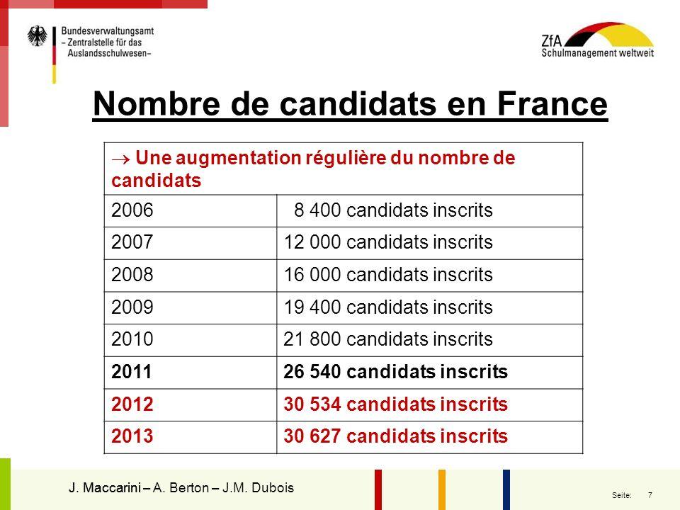7 Seite: Une augmentation régulière du nombre de candidats 2006 8 400 candidats inscrits 200712 000 candidats inscrits 200816 000 candidats inscrits 2