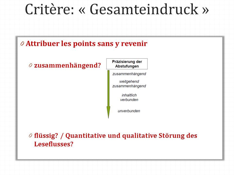 Critère: « Gesamteindruck » 0 Attribuer les points sans y revenir 0 zusammenhängend? 0 flüssig? / Quantitative und qualitative Störung des Leseflusses