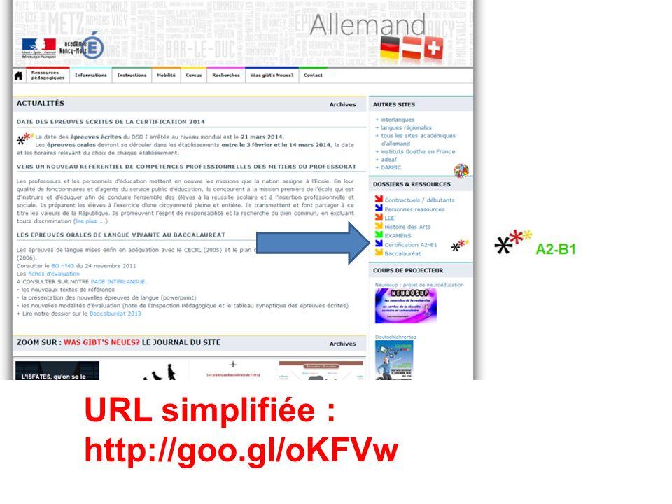 Site dallemand : page dédiée à la Certification URL simplifiée : http://goo.gl/oKFVw