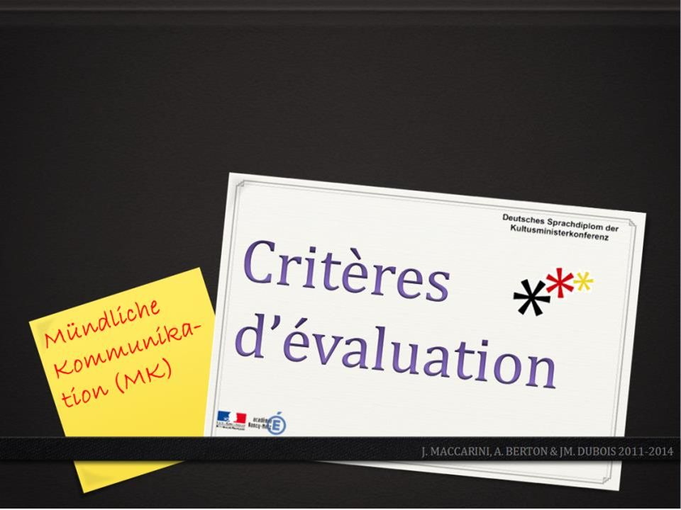 Critères dévaluation - MK