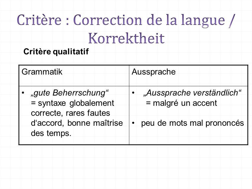 Critère qualitatif GrammatikAussprache gute Beherrschung = syntaxe globalement correcte, rares fautes daccord, bonne maîtrise des temps. Aussprache ve