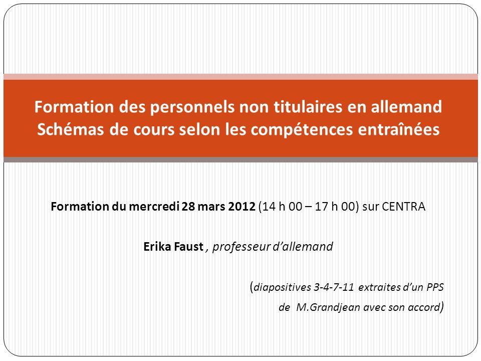 Formation du mercredi 28 mars 2012 (14 h 00 – 17 h 00) sur CENTRA Erika Faust, professeur dallemand ( diapositives 3-4-7-11 extraites dun PPS de M.Gra