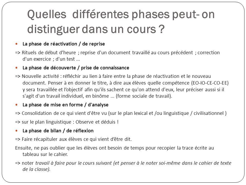 Quelles différentes phases peut- on distinguer dans un cours ? La phase de réactivation / de reprise => Rituels de début dheure ; reprise d'un documen