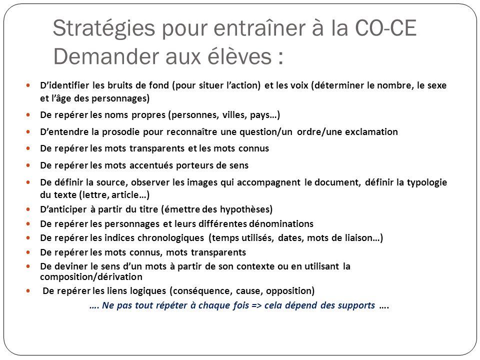 Stratégies pour entraîner à la CO-CE Demander aux élèves : Didentifier les bruits de fond (pour situer laction) et les voix (déterminer le nombre, le