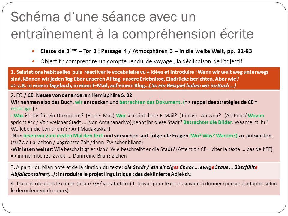 Schéma dune séance avec un entraînement à la compréhension écrite Classe de 3 ème – Tor 3 : Passage 4 / Atmosphären 3 – in die weite Welt, pp. 82-83 O