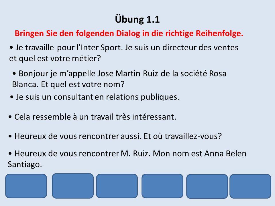 Übung 1.7 Schreiben Sie ein paar Zeilen über sich, mit folgenden Informationen: Ihr Name Ihr Wohnort Beschreibung Ihrer Wohnung / Ihres Hauses Ihre Familie Ihre Hobbys die Sprachen, die Sie sprechen