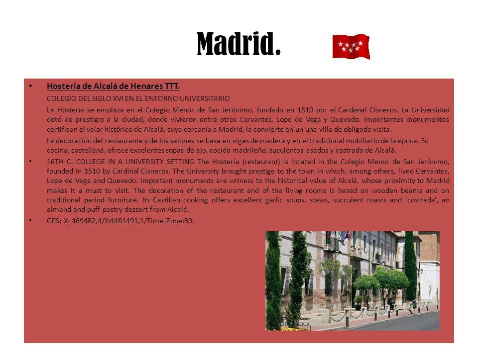 Madrid. Hostería de Alcalá de Henares TTT. COLEGIO DEL SIGLO XVI EN EL ENTORNO UNIVERSITARIO La Hostería se emplaza en el Colegio Menor de San Jerónim