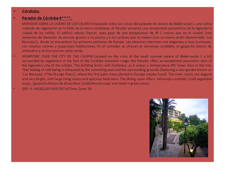 Córdoba. Parador de Córdoba 4****. MIRADOR SOBRE LA CIUDAD DE LOS CALIFAS Emplazado sobre las ruinas del palacete de verano de Abderramán I, una colin