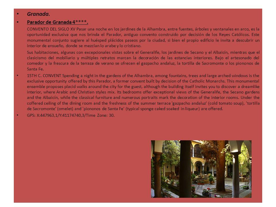 Granada. Parador de Granada 4****. CONVENTO DEL SIGLO XV Pasar una noche en los jardines de la Alhambra, entre fuentes, árboles y ventanales en arco,