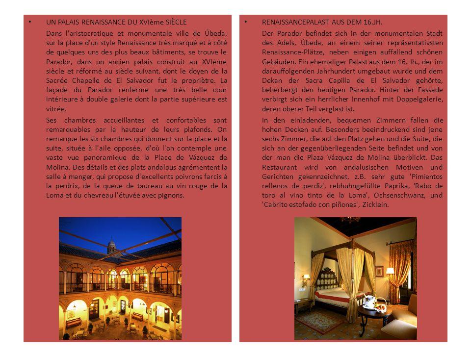 UN PALAIS RENAISSANCE DU XVIème SIÈCLE Dans l'aristocratique et monumentale ville de Úbeda, sur la place d'un style Renaissance très marqué et à côté