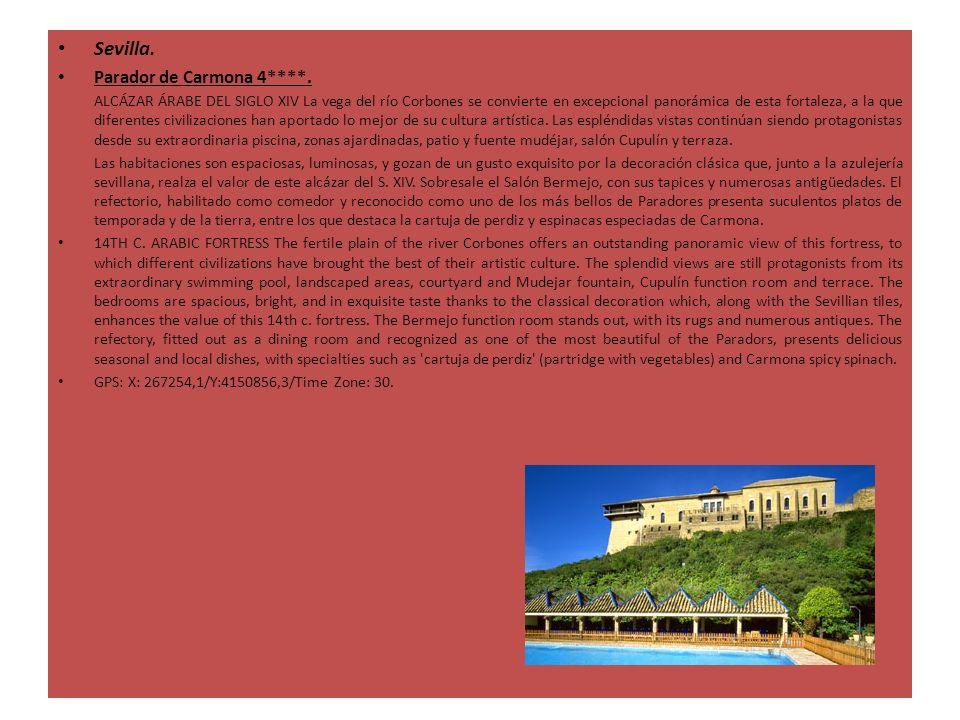 Sevilla. Parador de Carmona 4****. ALCÁZAR ÁRABE DEL SIGLO XIV La vega del río Corbones se convierte en excepcional panorámica de esta fortaleza, a la