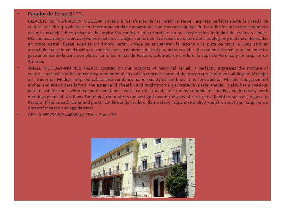Parador de Teruel 3***. PALACETE DE INSPIRACIÓN MUDÉJAR Situado a las afueras de las histórica Teruel, expresa perfectamente la mezcla de culturas y e