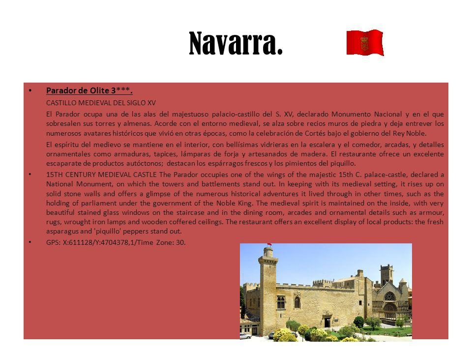 Navarra. Parador de Olite 3***. CASTILLO MEDIEVAL DEL SIGLO XV El Parador ocupa una de las alas del majestuoso palacio-castillo del S. XV, declarado M