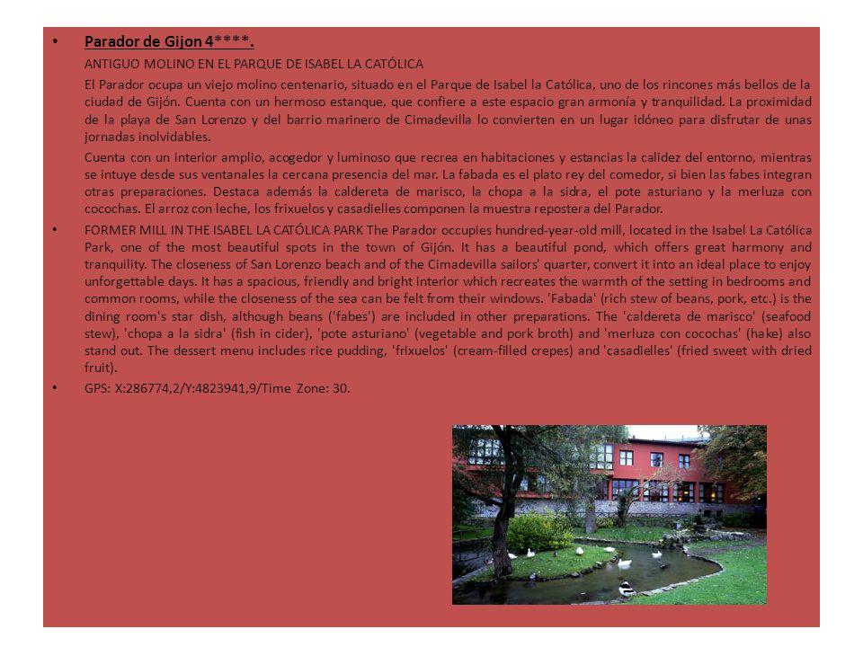 Parador de Gijon 4****. ANTIGUO MOLINO EN EL PARQUE DE ISABEL LA CATÓLICA El Parador ocupa un viejo molino centenario, situado en el Parque de Isabel