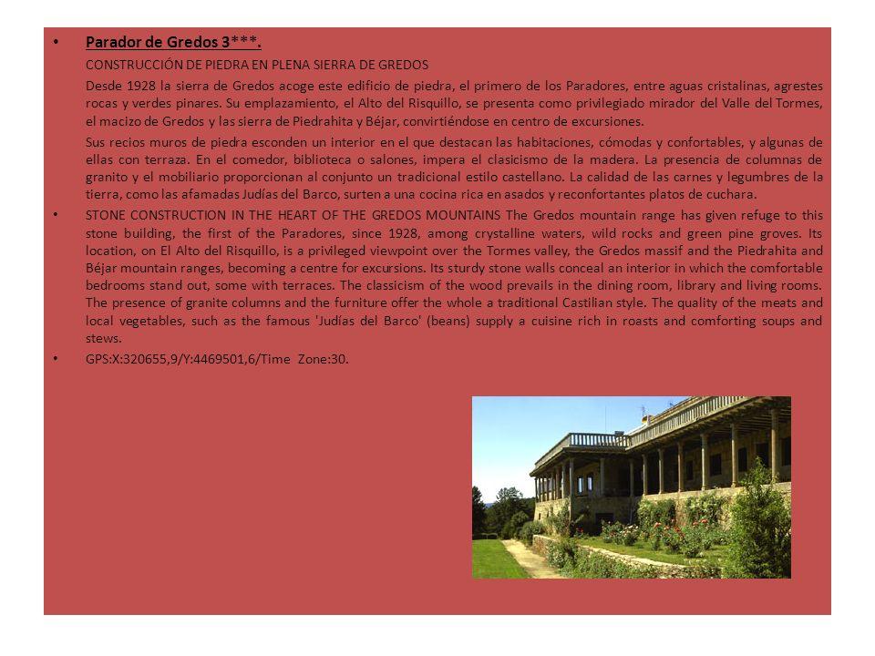 Parador de Gredos 3***. CONSTRUCCIÓN DE PIEDRA EN PLENA SIERRA DE GREDOS Desde 1928 la sierra de Gredos acoge este edificio de piedra, el primero de l